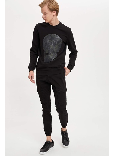 DeFacto Baskılı Slim Fit Sweatshirt Siyah